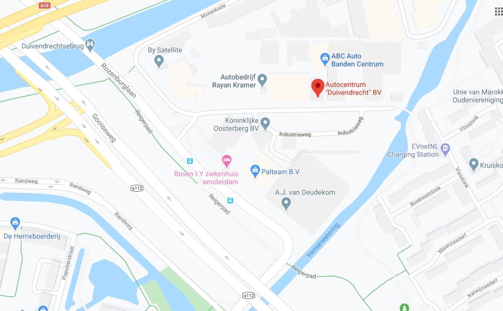 Kaart Autocentrum Duivendrecht